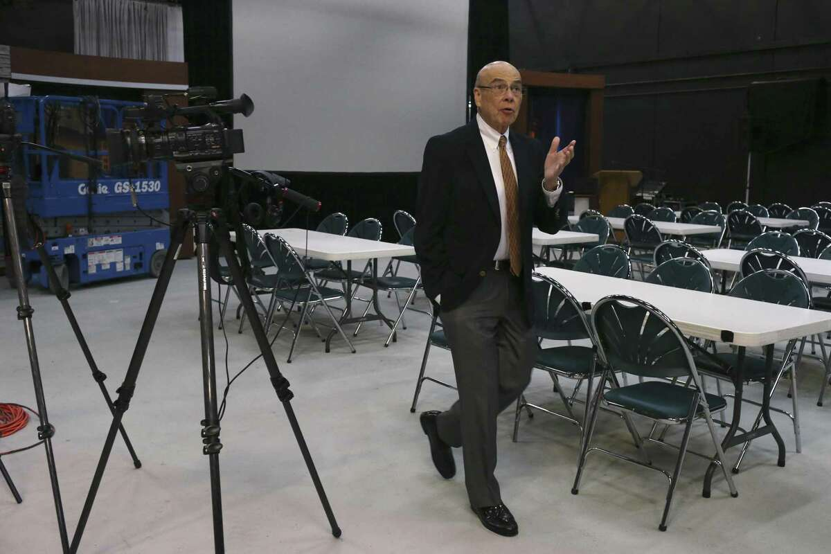KLRN CEO Arthur Rojas Emerson walks in the main studio while giving a tour of their Broadway building, Thursday, Feb. 1, 2018.