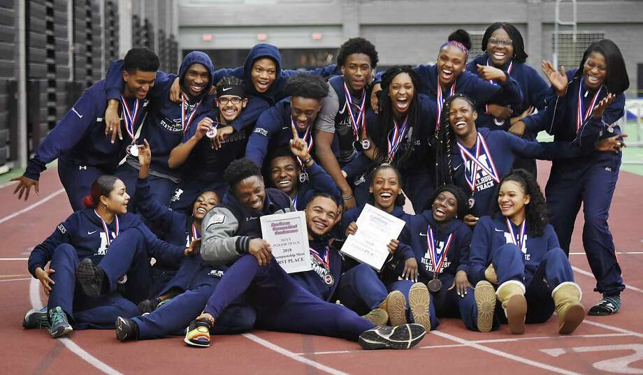 Hillhouse celebrates their win at the SCC track and field championships, Feb. 2, 2018, at Floyd Little Athletic Center in New Haven. Photo: Catherine Avalone, Hearst Connecticut Media / New Haven Register