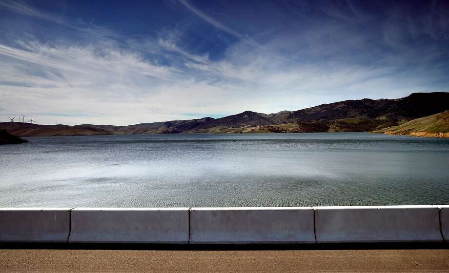 Looking out over the Los Vaqueros Reservoir from the dam in Brentwood. More than a dozen local water agencies are trying to tap a windfall of state funds to expand Los Vaqueros Reservoir into a regional giant. Photo: Michael Macor, The Chronicle