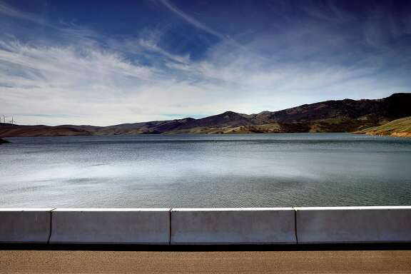 Looking out over the Los Vaqueros Reservoir frpm the dam in Brentwood, Calif., on Friday Feb. 2, 2018, from the middle of the dam. More than a dozen local water agencies are trying to tap a windfall of state funds to expand Los Vaqueros Reservoir into a regional giant that serves San Francisco and Silicon Valley.