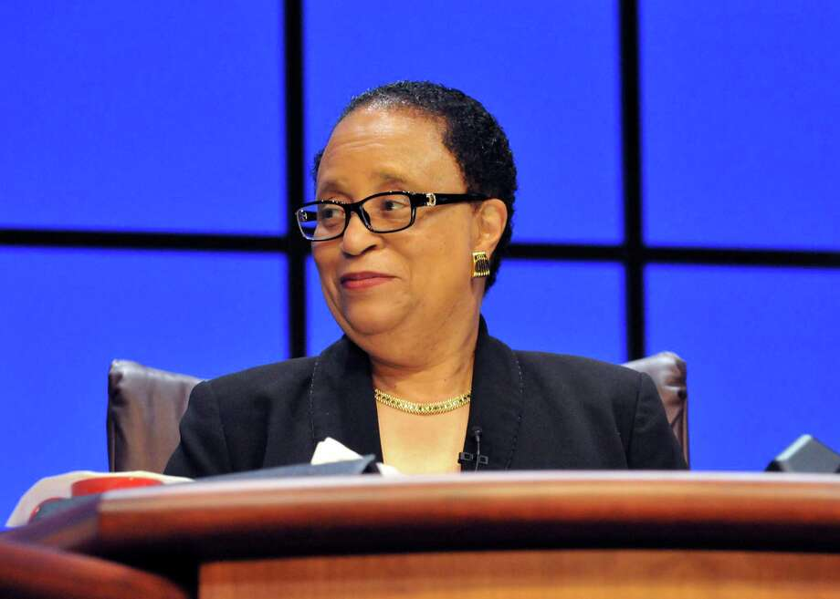 Rensselear Polytechnic Institute President Shirley Ann Jackson speaks during RPI's President's Commencement Colloquy Friday, May 21, 2015, in Troy N.Y. (Phoebe Sheehan/Special to the Times Union) Photo: PS / 10032069A