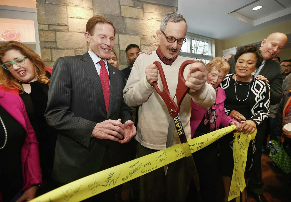 From left, Abby Moffat, a Chapel Haven sibling; U.S. Richard Blumenthal; Andrew Auerbach, a community member of Chapel Haven; Diana Davis Spencer, a Chapel Haven parent; Mayor Toni N. Harp; and Chapel Haven President Michael Storz at a ribbon-cutting for Chapel Haven's new welcome center Friday in New Haven.
