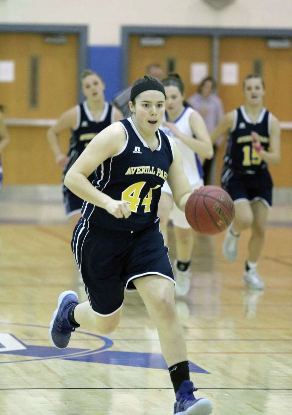 Averill Park's Olivia Kelley moves the ball down the court during girls varsity basketball action at Saratoga Springs High School Friday, Feb. 2, 2018. (Ed Burke - Special to The Times Union)