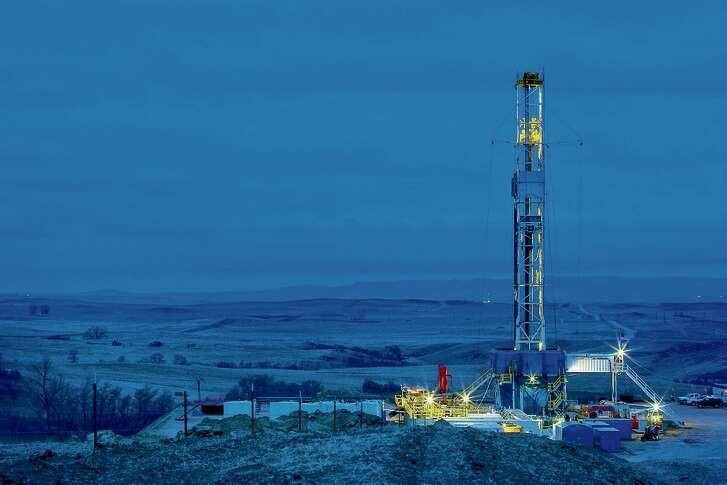 A Marathon Oil drilling rig works in the Bakken Shale of North Dakota.