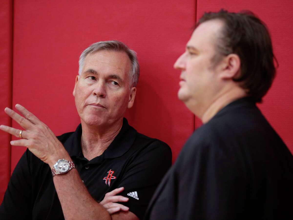 Houston Rockets head coach Mike D'Antoni, left, talks to general manager Daryl Morey during the Rockets mini-camp in preparation for the NBA Summer League 2017 at Toyota Center on Wednesday, July 5, 2017, in Houston.