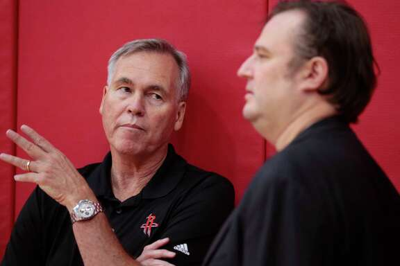 Houston Rockets head coach Mike Dantoni, left, talks to general manager Daryl Morey during the Rockets mini-camp in preparation for the NBA Summer League 2017 at Toyota Center on Wednesday, July 5, 2017, in Houston.