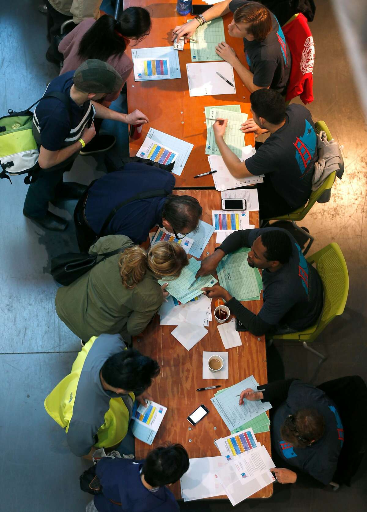Applicants seeking U.S. citizenship (left) register for a Pathways to Citizenship workshop with volunteers at City College in San Francisco, Calif. on Saturday, Feb. 3, 2018.
