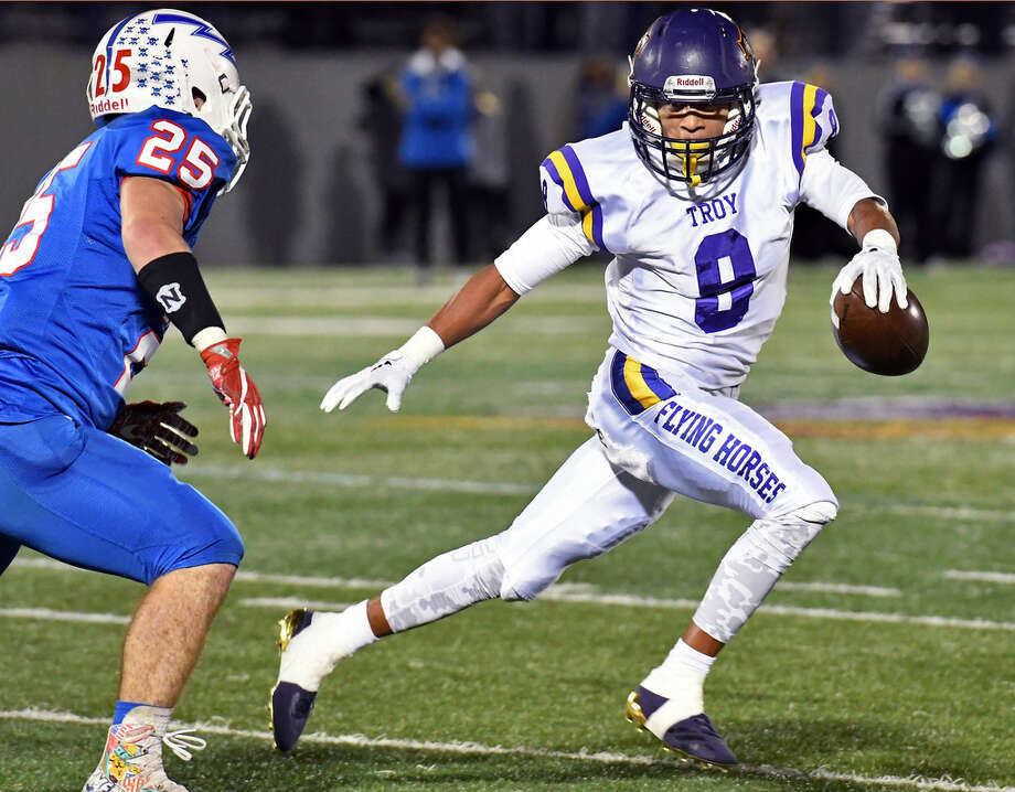 Troy High's Dev Holmes scored two touchdowns against Saratoga at UAlbany's Casey Stadium, his home for the next four seasons. (John Carl D'Annibale/Times Union)