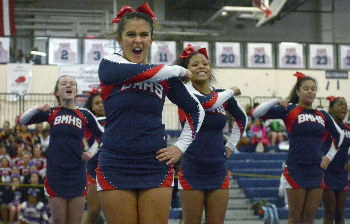 Valentina Zuleta and The Brien McMahon High School cheerleading squad compete in The 2018 FCIAC Cheerleading Championships Saturday, February 3, 2018, at Wilton High School in Wilton, Conn.