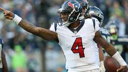 Houston Texans quarterback Deshaun Watson (4) celebrates after rushing for a first down during the second half of the game against the Seattle Seahawks at CenturyLink Field Sunday, Oct. 29, 2017, in Seattle. The Seahawks won 41-38. ( Godofredo A. Vasquez / Houston Chronicle )