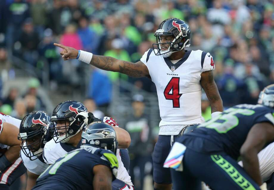 Houston Texans quarterback Deshaun Watson (4) makes a call at the line of scrimmage before snapping the ball against the Seattle Seahawks during the game at CenturyLink Field Sunday, Oct. 29, 2017, in Seattle. The Seahawks won 41-38. ( Godofredo A. Vasquez / Houston Chronicle ) Photo: Godofredo A. Vasquez/Houston Chronicle