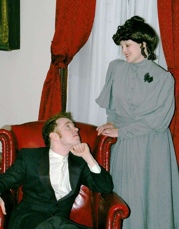 "Kevin Marshall and Katie Buckley in Confetti Stage's new production of Oscar Wilde?s 1895 classic, ""The Importance of Being Earnest."" (Kari Vanalstine)"