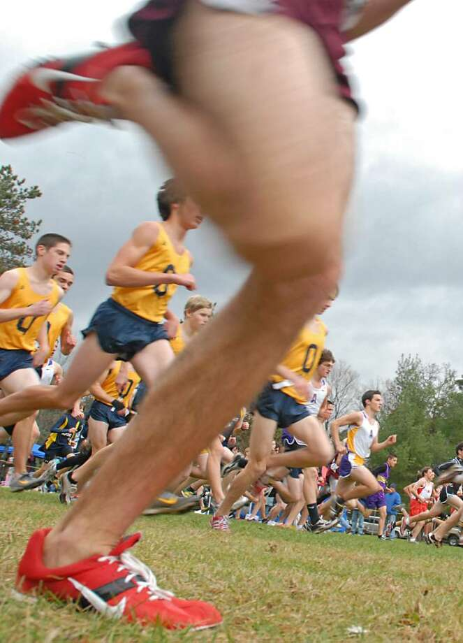 Runners take off in the boys' Class A race during the Section II Cross Country Sectionals on Friday. (Lori Van Buren / Times Union) Photo: LORI VAN BUREN