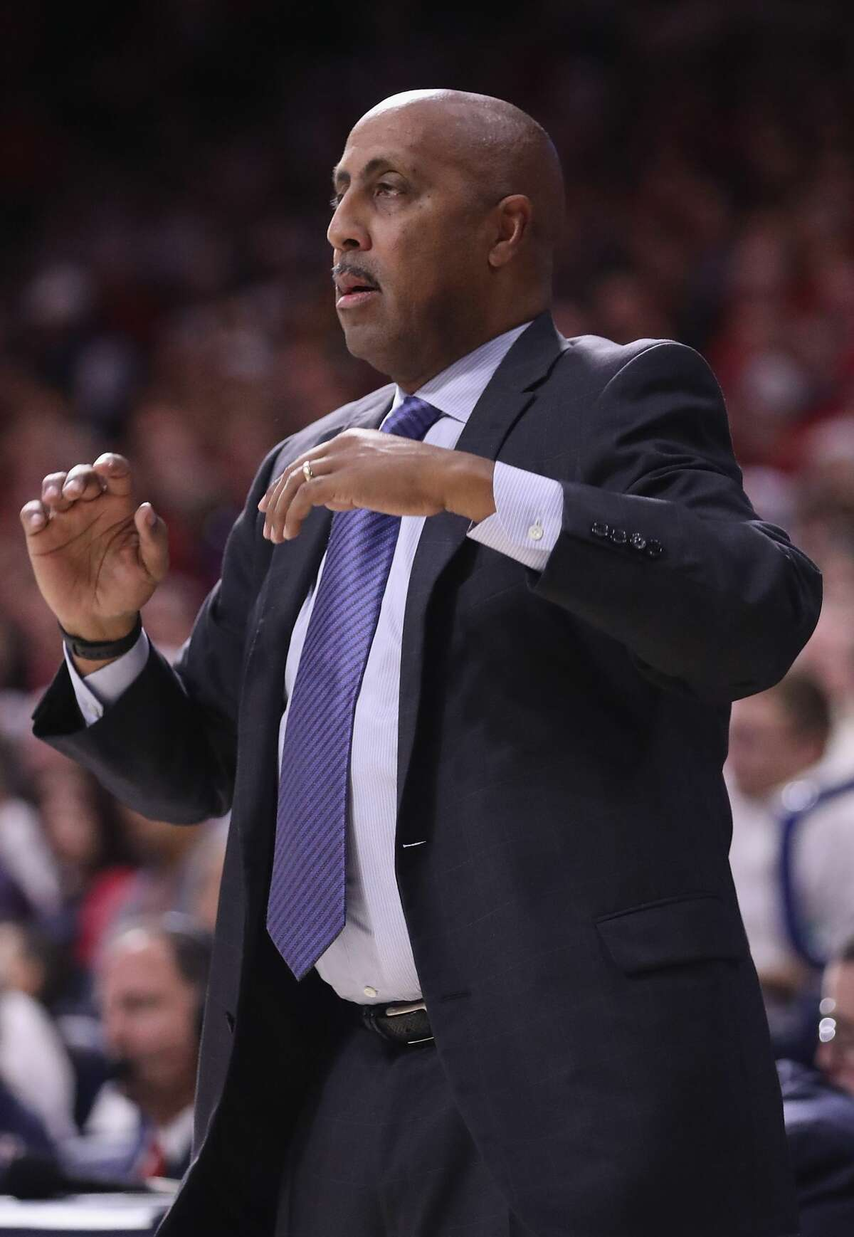 TUCSON, AZ - DECEMBER 09: Associate coach Lorenzo Romar of the Arizona Wildcats reacts during the second half of the college basketball game against the Alabama Crimson Tide at McKale Center on December 9, 2017 in Tucson, Arizona. The Wildcats defeated the Crimson Tide 88-82. (Photo by Christian Petersen/Getty Images)