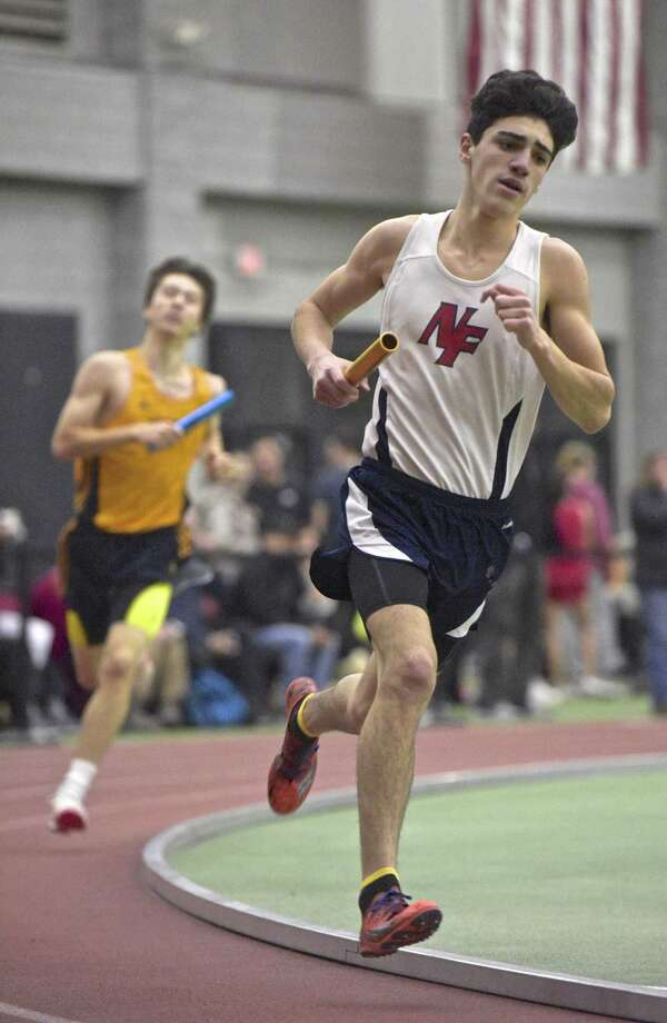 New Fairfield's Anthony Golino competes in the 4 x 800 meter relay in the SWC boys indoor track championship at Floyd Little Athletic Center, New Haven, Conn, on Saturday night, February 3, 2018. Photo: H John Voorhees III / Hearst Connecticut Media / The News-Times