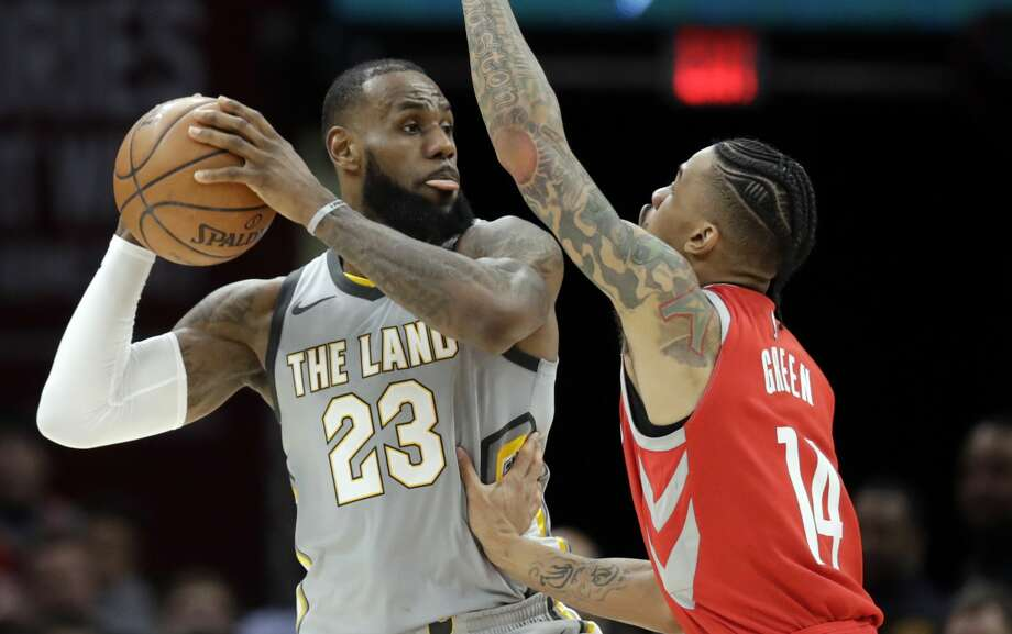Cleveland Cavaliers' LeBron James (23) looks to pass over Houston Rockets' Gerald Green (14) in the second half of an NBA basketball game, Saturday, Feb. 3, 2018, in Cleveland. (AP Photo/Tony Dejak) Photo: Tony Dejak/Associated Press
