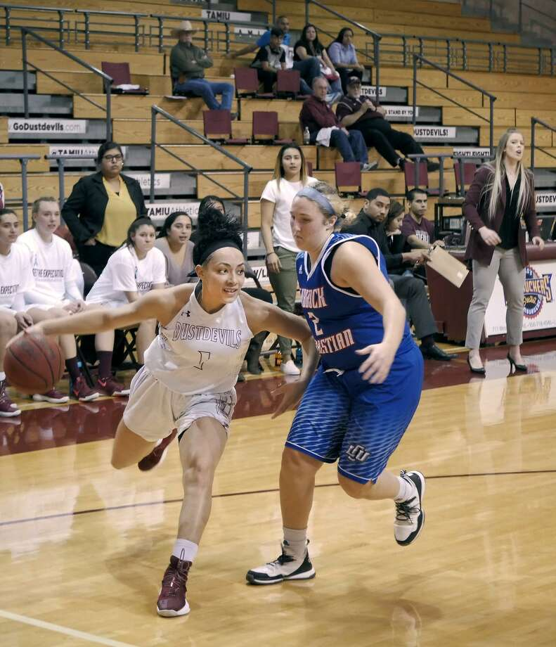 Tantashea Giger and the Dustdevils begin the Heartland Conference tournament facing No. 2 Dallas Baptist Thursday at 7:30 p.m. in Tulsa, Oklahoma. Giger, the league's fourth-leading scorer, is averaging 17 points and eight rebounds her last four outings. Photo: Cuate Santos /Laredo Morning Times File / Laredo Morning Times