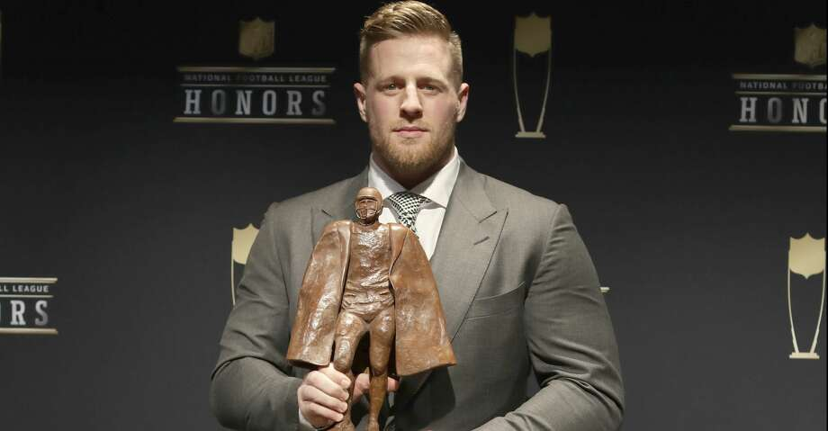 In this photo provided by the NFL, J. J. Watt poses in the press room with the Walter Payton NFL Man of the Year award at the 7th Annual NFL Honors at the Cyrus Northrop Memorial Auditorium on Saturday, Feb. 3, 2018, in Minneapolis. (Photo by Jeff Lewis/Invision for NFL/AP Images) Photo: Jeff Lewis/Associated Press