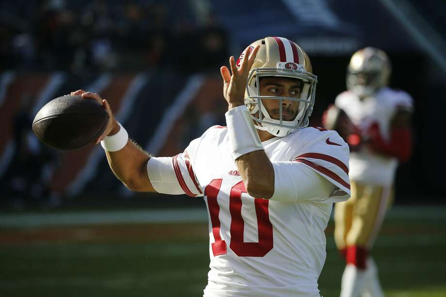 San Francisco 49ers quarterback Jimmy Garoppolo (10) warms up before an NFL football game against the Chicago Bears, Sunday, Dec. 3, 2017, in Chicago. (AP Photo/Charles Rex Arbogast) Photo: Charles Rex Arbogast, Associated Press