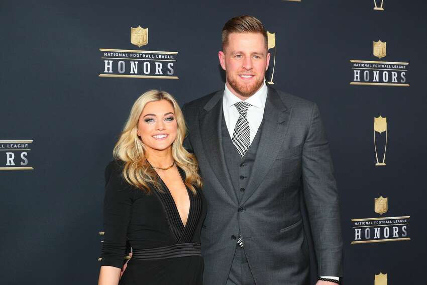 MINNEAPOLIS, MN - FEBRUARY 03: JJ Watt and girlfriend Kealia Ohai pose for Photographs on the Red Carpet at NFL Honors during Super Bowl LII week on February 3, 2018, at Northrop at the University of Minnesota in Minneapolis, MN. (Photo by Rich Graessle/Icon Sportswire via Getty Images)