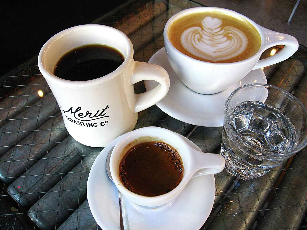 Drip coffee, left, a Mexican vanilla latte and a double espresso all made with beans by Merit Roasting Co. from Local Coffee at the Pearl.