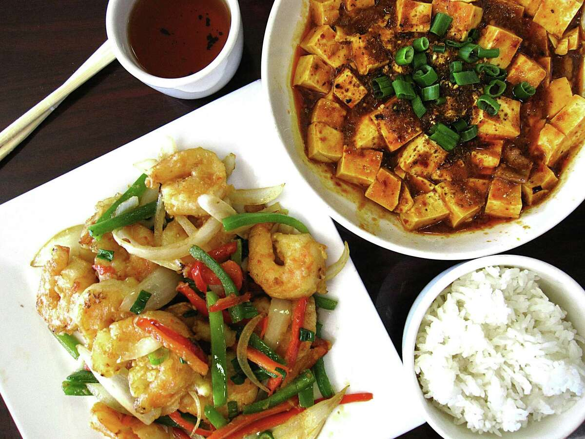 Salt and pepper shrimp, left, and mapo tofu from Sichuan House