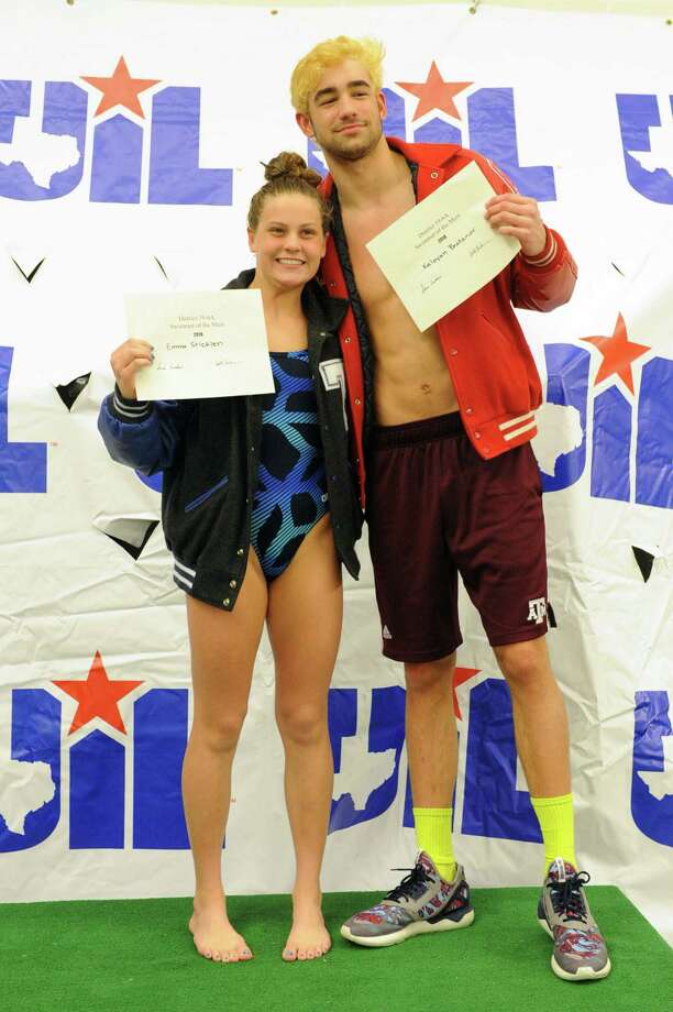 Emma Stricklen of Taylor and Kaloyan Bratanov of Katy are named girls and boys swimmers of the meet at the District 19-6A Swimming and Diving Championships on January 27, 2018 at the Katy HS Natatorium, Katy, TX. Photo: Craig Moseley, Staff / ©2018 Houston Chronicle