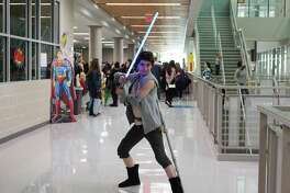 Cassidy Whitlock from Alvin Community College strikes her best Star Wars Rey pose at Brazcon Teen Comics Convention on Feb. 3.