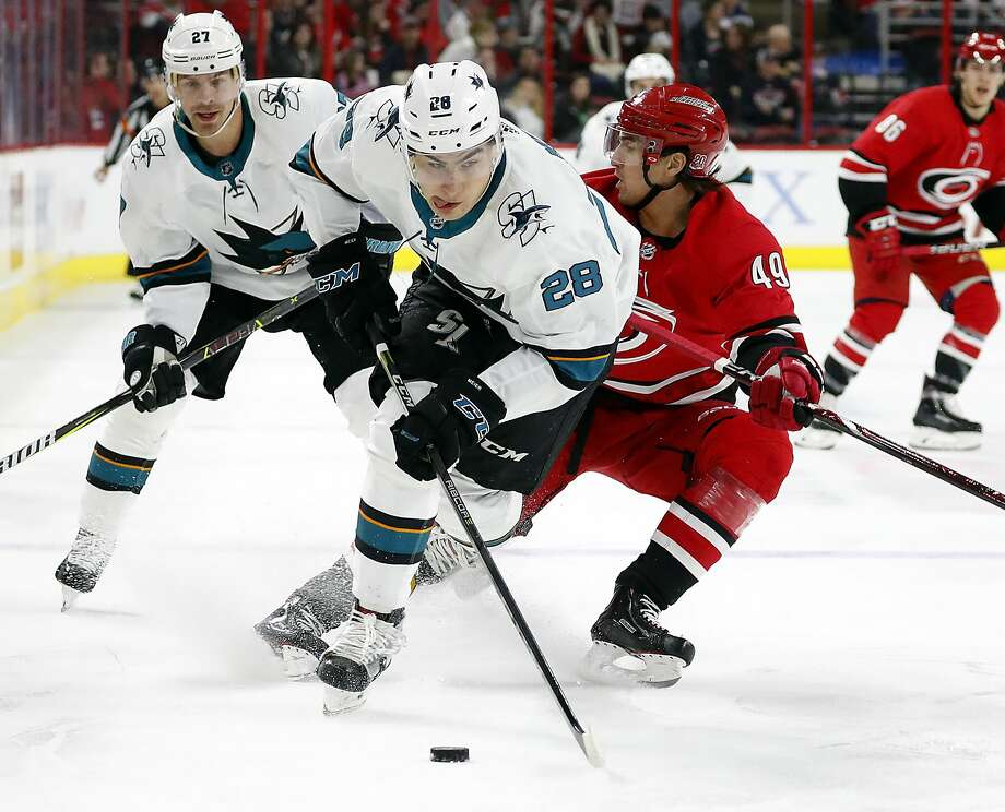 San Jose's Timo Meier drives past Carolina's Victor Rask on Sunday. Meier scored the opening goal. Photo: Karl B DeBlaker, Associated Press