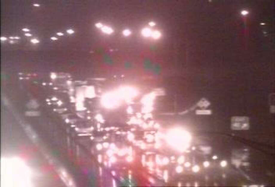 This is a traffic camera image of interstate northbound, south of exit 41 in Milford, near where an overturned motor vehicle in jammed up traffic in Orange around 6:15 p.m. Sunday, Feb. 4, 2018. Image courtesy of the Connecticut Department of Transportation. Photo: Contributed / Contributed