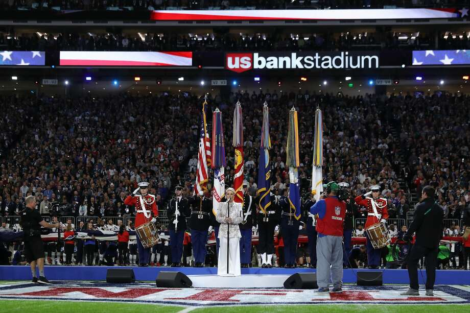 MINNEAPOLIS, MN - FEBRUARY 04:  Pink sings the national anthem prior to Super Bowl LII between the New England Patriots and the Philadelphia Eagles at U.S. Bank Stadium on February 4, 2018 in Minneapolis, Minnesota.  (Photo by Elsa/Getty Images) Photo: Elsa/Getty Images