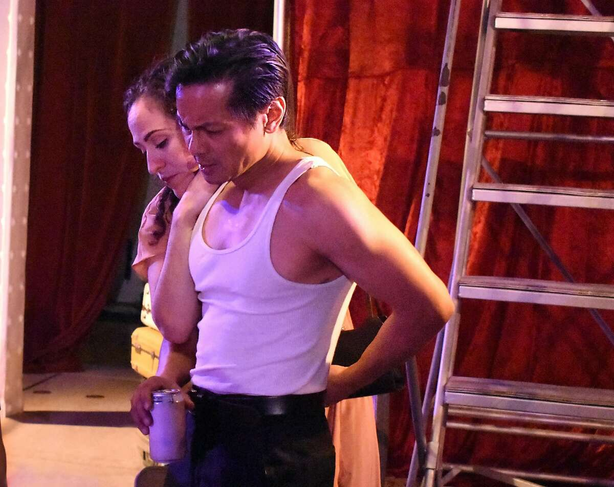 """From left:�Sarita Oco�n as Stella and Ogie Zulueta as Stanley in Ubuntu Theater Project's """"A Streetcar Named Desire."""""""