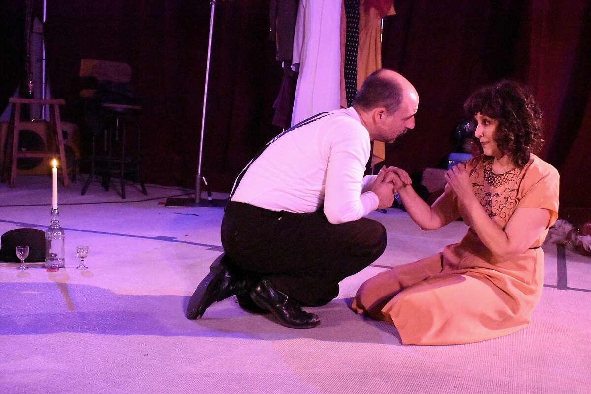 """From left:�Dominick Palamenti as Mitch and Lisa Ramirez as Blanche in Ubuntu Theater Project's """"A Streetcar Named Desire."""""""