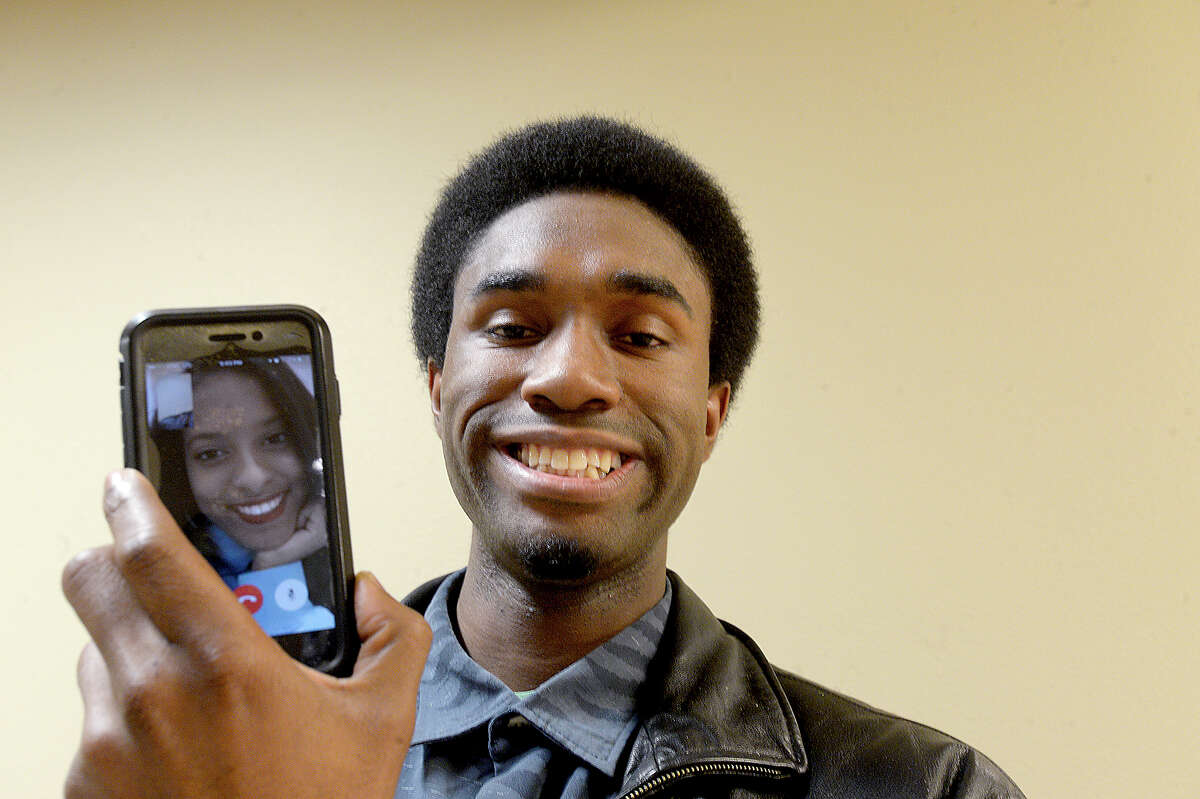 Lamar University student Anthony Alex and his girlfriend Nia Williams, who kives in Iowa, are keeping their 2-year relationship on track with the aid of facetime. Photo taken Friday, February 2, 2018 Kim Brent/The Enterprise