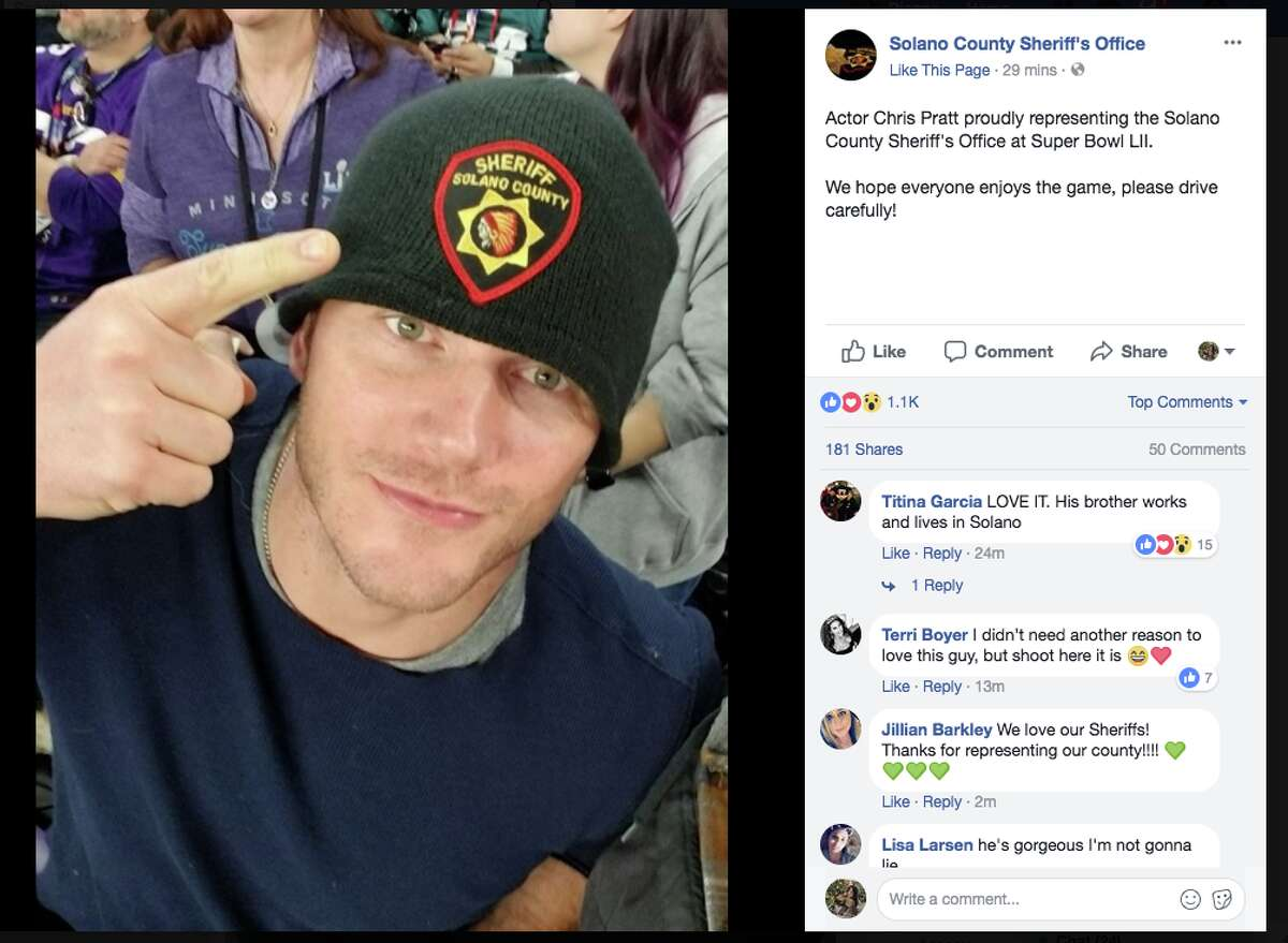 Actor Chris Pratt is at the Super Bowl with his brother, and was seen sporting a Solano County Sheriff's Office hat for a photo.