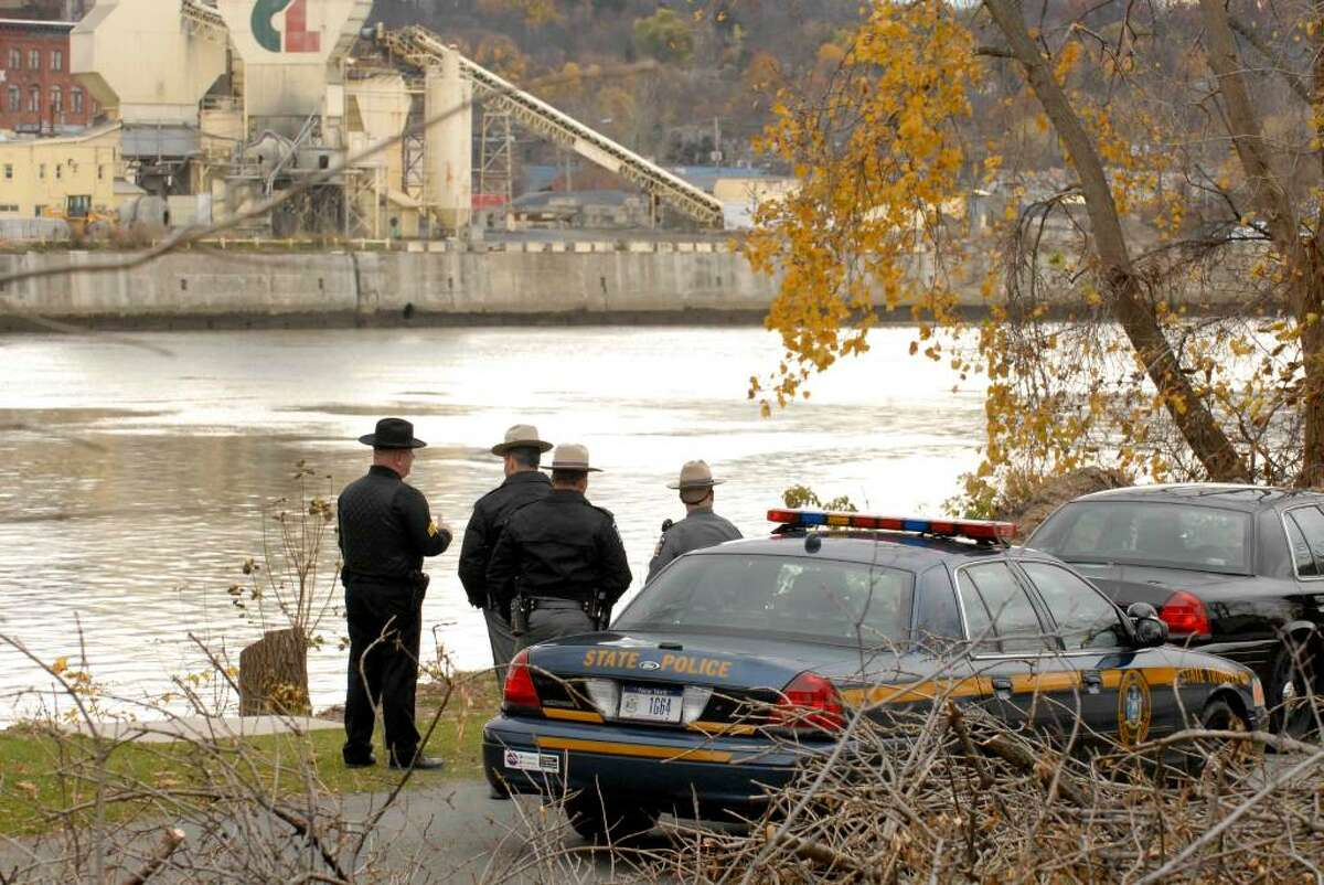 State Police search for an escapee at Hudson Shores Park in Watervliet Friday morning. (Michael P. Farrell/Times Union)