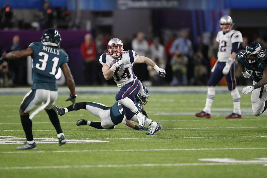 New England Patriots' Rex Burkhead runs against the Philadelphia Eagles during the second half of the NFL Super Bowl 52 football game Sunday, Feb. 4, 2018, in Minneapolis. (AP Photo/Jeff Roberson) Photo: Jeff Roberson, Associated Press