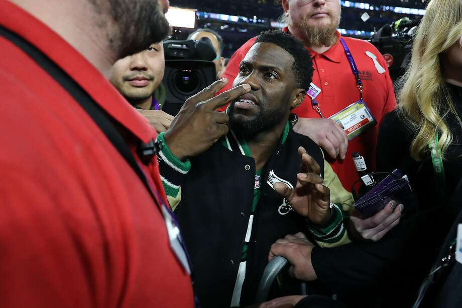 Comedian and Philadelphia native Kevin Hart attempts to get onto the stage following the Eagles 41-33 win over the New England Patriots  in Super Bowl LII at U.S. Bank Stadium on February 4, 2018 in Minneapolis, Minnesota.  (Photo by Elsa/Getty Images) Photo: Elsa, Getty Images