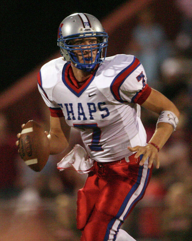 FILE - In this Sept. 29, 2006 file photo, Westlake High School quarterback Nick Foles looks for a receiver against Austin High during a football game in Austin, Texas. Ten years after Drew Brees led Westlake High School to victory in the Texas state championship game, Foles broke several of his passing records but lost in the title game. The two quarterbacks meet with far more at stake _ Saints vs. Eagles in an NFC wild-card game.   (AP Photo/Austin American Statesman, Jay Janner, File)  Photo: Jay Janner, Associated Press / Austin American-Statesman