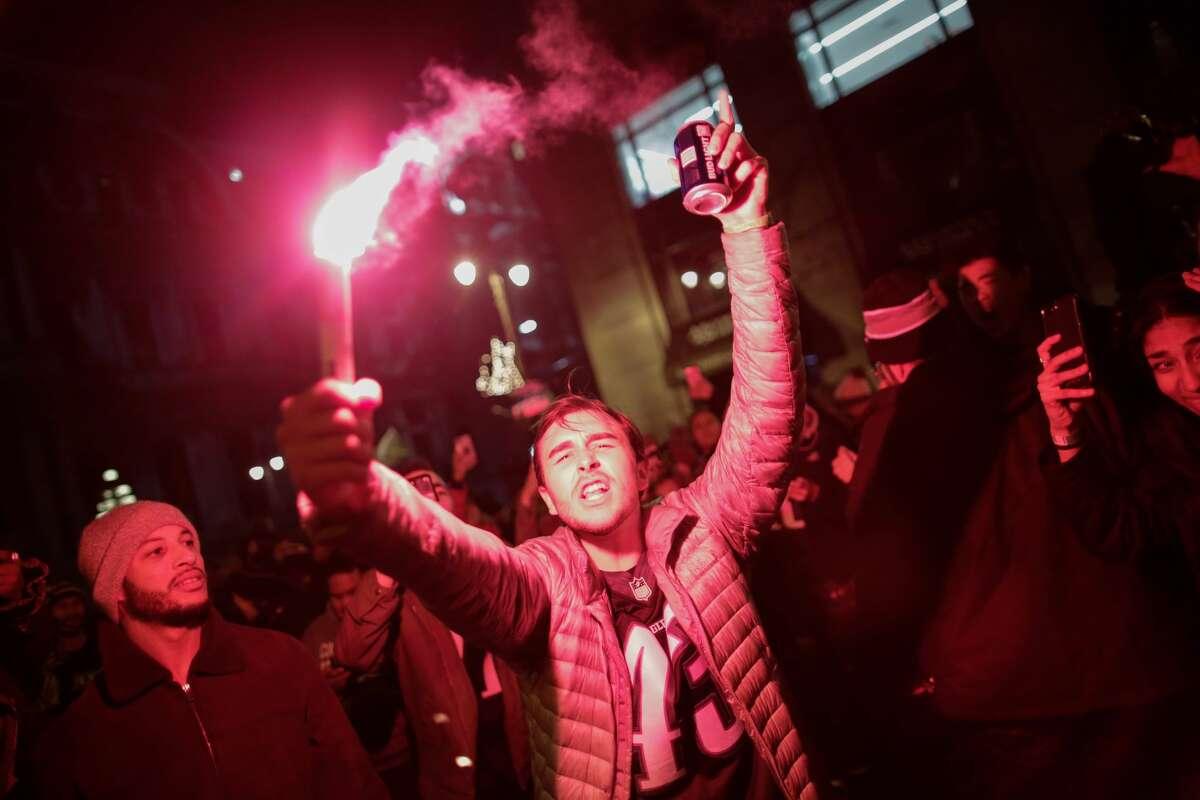 Philadelphia Eagles fans celebrates their victory in Super Bowl LII against the New England Patriots on February 4, 2018 in Philadelphia, Pennsylvania..(Photo by Eduardo Munoz Alvarez/Getty Images)