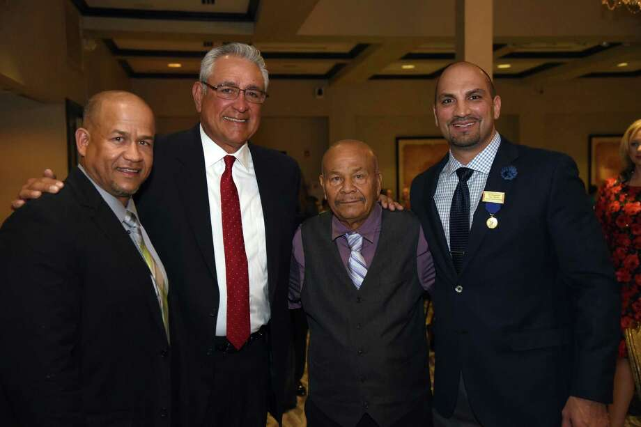 Former MLB pitcher Mike Torrez, second from left, is pictured with Ivan and Jose Ramirez and Tano Tijerina at the Latin American International Sports Hall of Fame induction ceremony Saturday at the Laredo Country Club. Photo: Christian Alejandro Ocampo /Laredo Morning Times / Laredo Morning Times