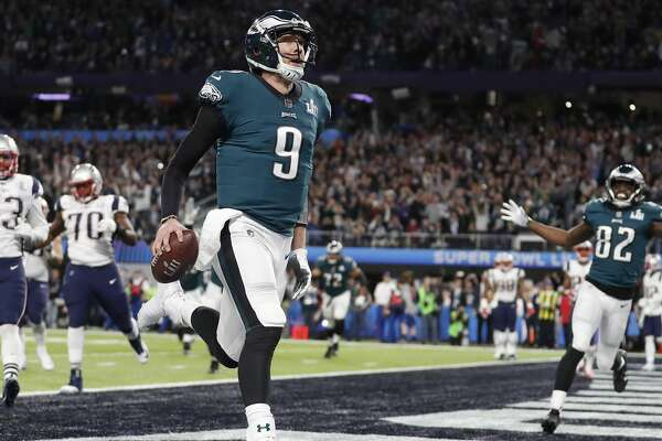 Philadelphia Eagles quarterback Nick Foles celebrates his touchdown catch during the first half of the NFL Super Bowl 52 football game against the New England Patriots Sunday, Feb. 4, 2018, in Minneapolis. (AP Photo/Jeff Roberson)