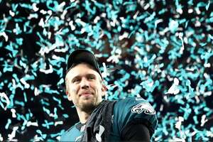 MINNEAPOLIS, MN - FEBRUARY 04:  Nick Foles #9 of the Philadelphia Eagles celebrates after defeating the New England Patriots 41-33 in Super Bowl LII at U.S. Bank Stadium on February 4, 2018 in Minneapolis, Minnesota.  (Photo by Elsa/Getty Images)
