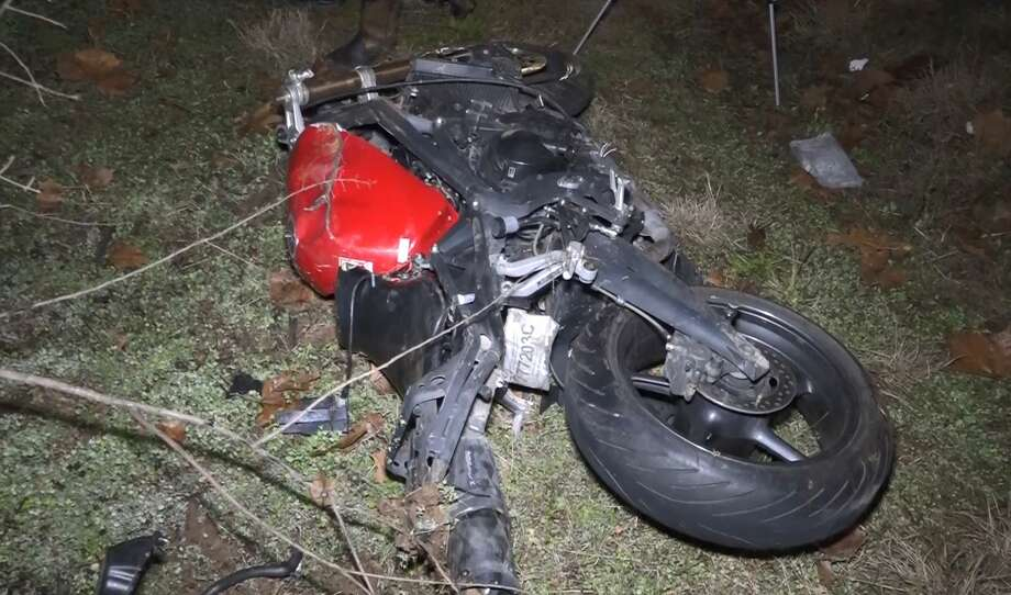 One man died north of Conroe after tumbling off a motorcycle, later found to be stolen, in a high speed crash, Feb. 5, 2018. Photo: Scott Engle