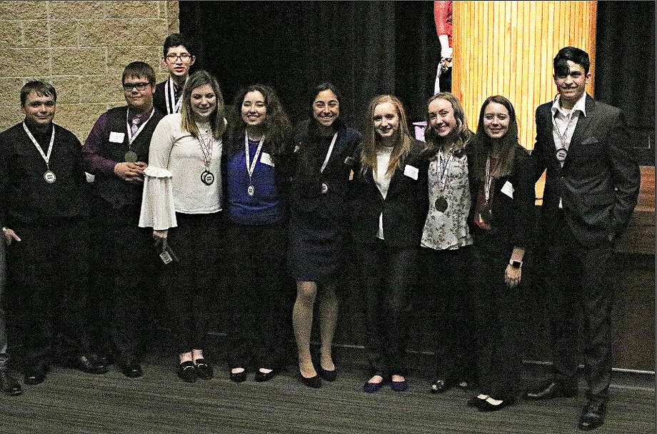Dayton High School Business Professionals of American hosted the regional conference and scored numerous awards. Award winners pictured from left, Christopher Lewis, Jr., Baily Dean, Benjamin Cruz, Hillary Waterstreet, Melissa Lobo, Isabella Jauregui, Jordan Marcontell, Madison Zaruba, Devin Ewing, and Will McCracken. Photo: Submitted