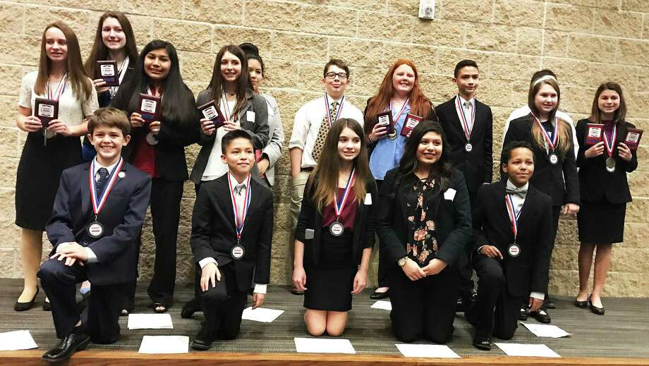 Students from Woodrow Wilson Junior High celebrated their success at the recent Business Professionals of America Regional contest last weekend. Photo: Submitted