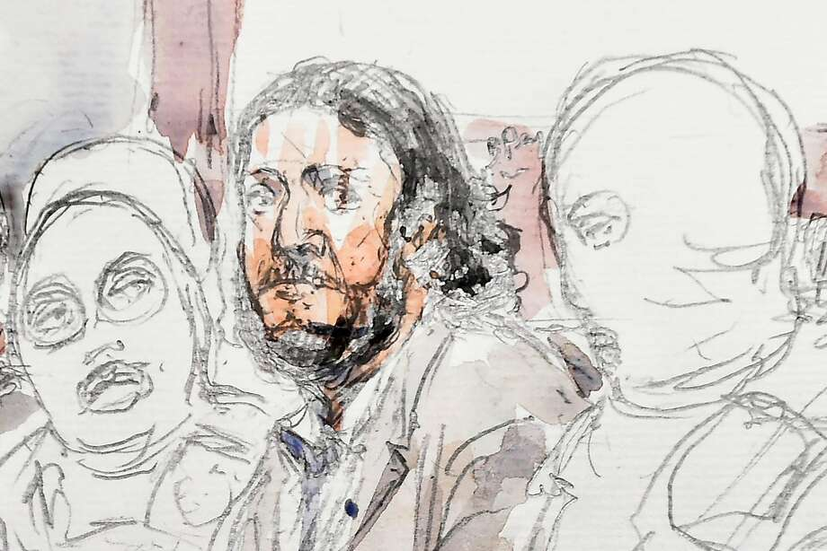 A sketch depicts Salah Abdeslam in a courtroom in Brussels surrounded by Belgian special police. Photo: BENOIT PEYRUCQ, AFP/Getty Images