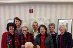 Wilson party: D'Ann Norwood, back row from left, Debbie Burke, Julie Cole and Diane Brown; Vicky Shaw, middle row from left, Gayle Dodson and Dottie Baker; and Alice Wilson, front row
