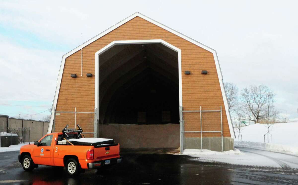 (Photo by Peter Hvizdak ?- New Haven Register) ¬ Approximately 700 cubic yards of salt sits in a Connecticut DOT salt shed Friday February 14, 2014 at the DOT Highway Maintenance Garage on Sea Street near Ella Grasso Blvd. next to I-95 Northin New Haven.
