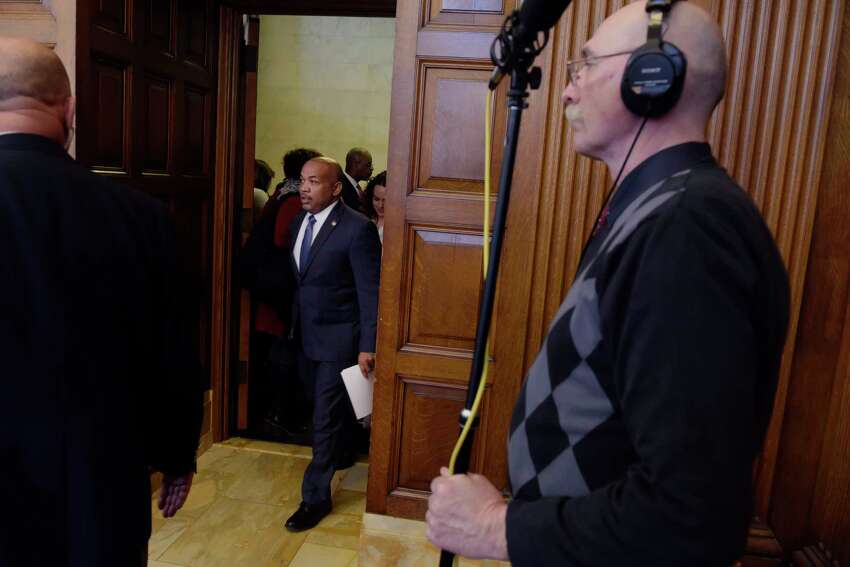 New York State Assembly Speaker Carl Heastie, walks in for the start of a press conference on Monday, Feb. 5, 2018, in Albany, N.Y. Speaker Heastie and his fellow Assembly members announced that the Assembly will take up and pass the Dream Act. (Paul Buckowski/Times Union)